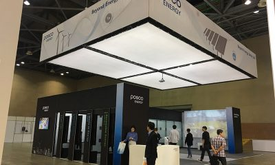 MILOS Xtruss kam für die Befestigung einer Textilverkleidung am Stand von Posco Energy auf der Korean Energy Show zum Einsatz.