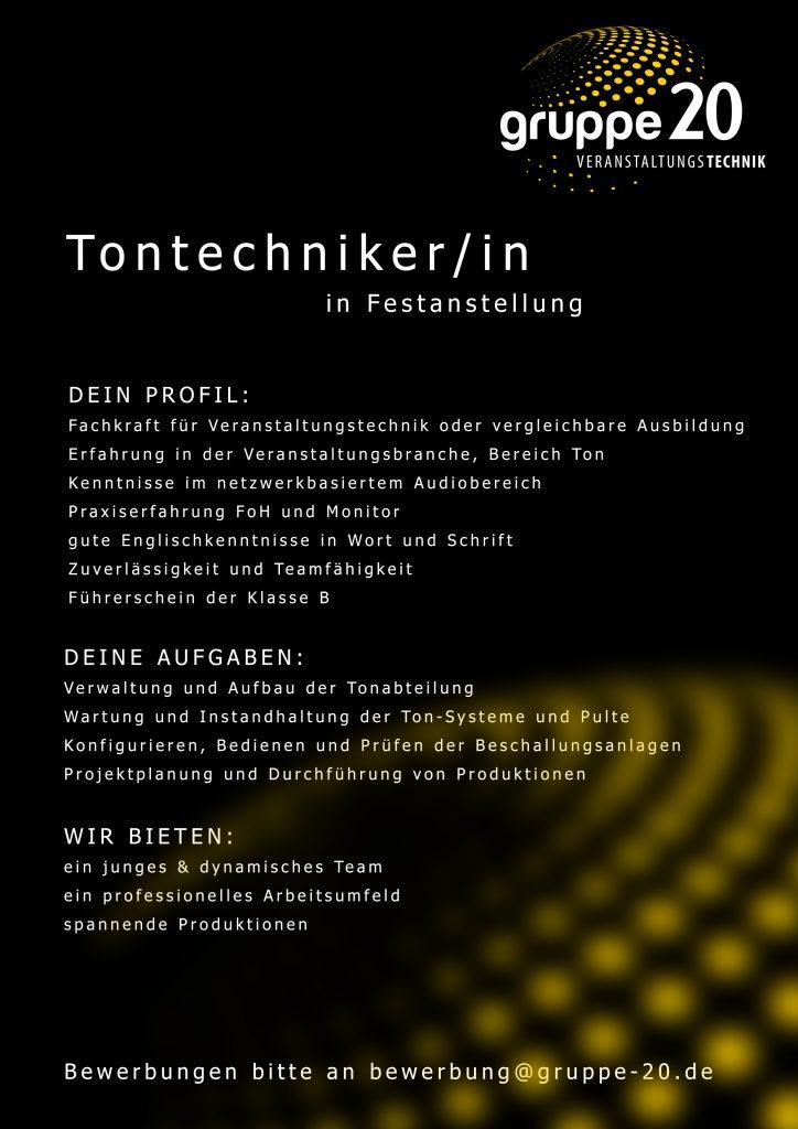 gruppe20 sucht eine(n) Tontechniker/-in zur Festanstellung