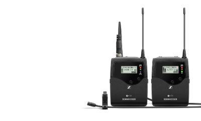 Das System ew 512‑p G4 (mit Kameraempfänger, Taschensender, professionellem Ansteckmikrofon MKE 2 und umfangreichem Zubehör) aus der Profi-Serie