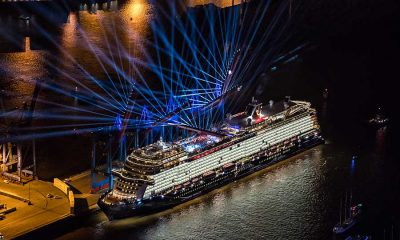 Lightshow over cruise ship