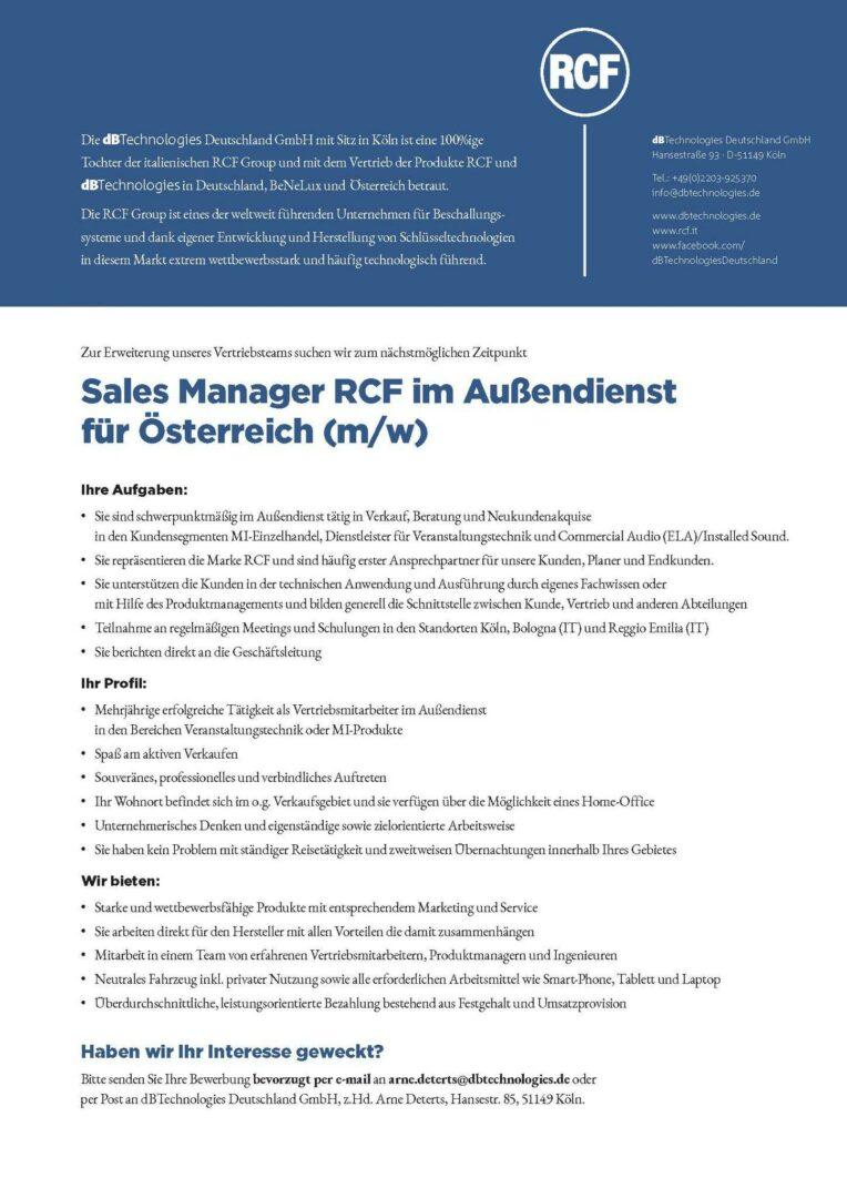 RCF sucht Sales Manager für Österreich - mothergrid