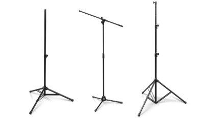 Zum Start der Serie werden ein Mikrofonstativ, ein Lautsprecherstativ und ein Lichtstativ angeboten.