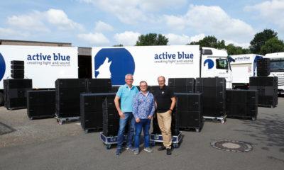 Übergabe des VIO Systems an Active Blue (v.l.n.r.: Frank Kasten, Harald von Falkenstein (beide dBTechnologies Deutschland), Andreas Beer (Geschäftsführer Active Blue)