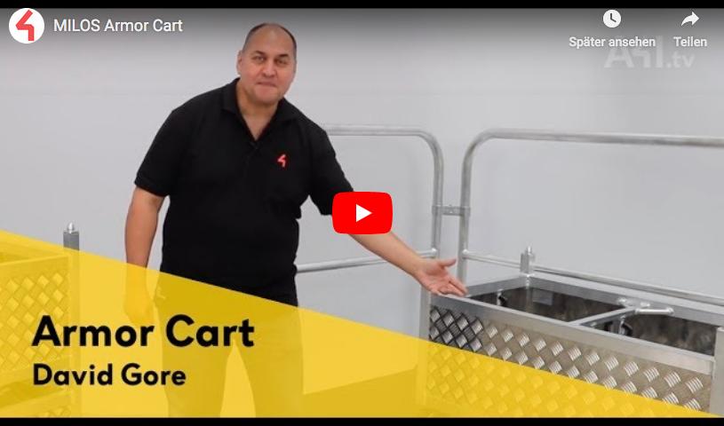 David Gore von Area Four Industries (Der Dachmarke von Milos) präsentiert das Mios Armor Cart.