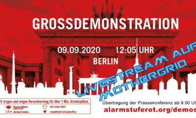 Livestream von der Pressekonferenz zur Großdemonstration von #alarmstuferot am 9. September 2020 in Berlin.