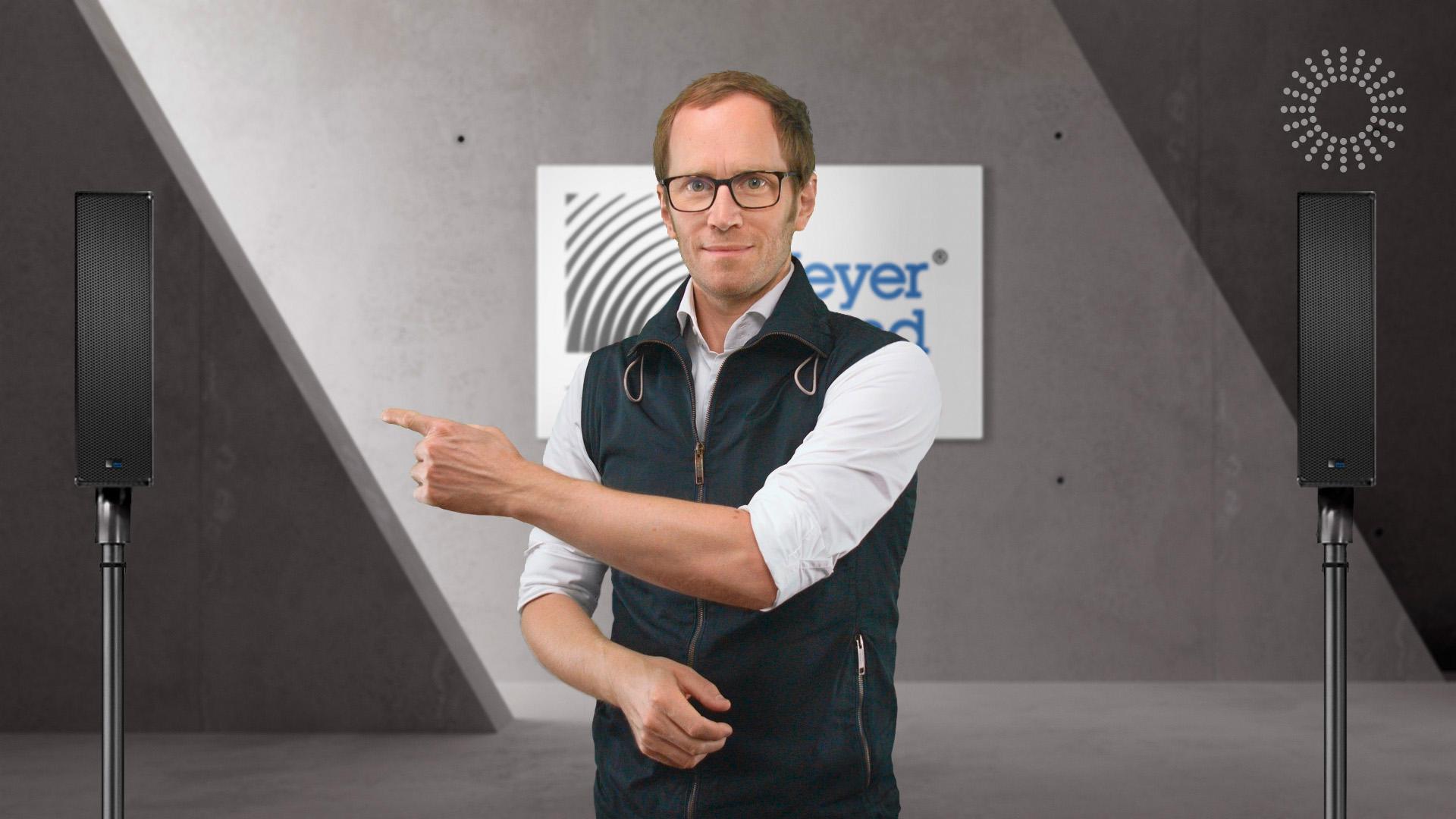 Cheeese Studio mit Meyer Sound UP-4slim.jpg: Cheeese Studio mit Meyer Sound UP-4slim und Jens Gebhardt, Geschäftsführer der Gebhardt Projekte GmbH