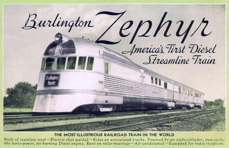 Der Pioneer Zephyr auf einer historischen Postkarte, ca. 1935
